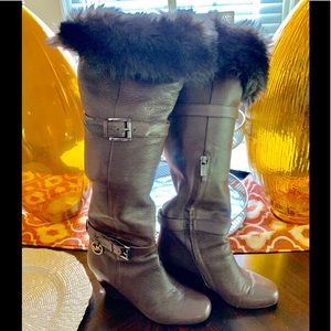 Michael Kors Wedge Heel Boots With Faux Fur EUC